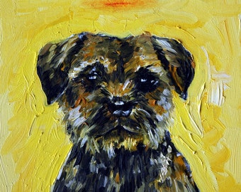 border terrier dog angel halo dog art tile coaster gift new animals artist impressionism