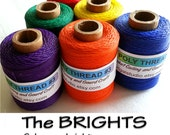 Waxed Poly Thread - The BRIGHTS - Choose Color, 2 oz Spool, Ideal for Pine Needle Basket Weaving, Gourd Art, Leather work, Jewelry Crafts