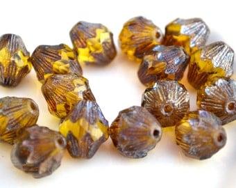 Amber Gunmetal Baroque FLuted Bicone Czech Glass Beads  4