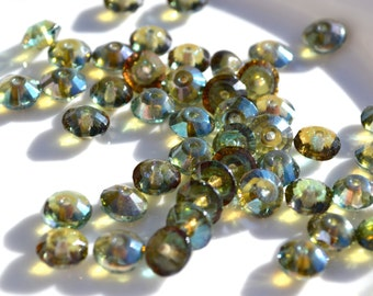 Aqua Celsian 7x4mm Rivoli Rondelle Beads  25