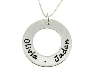 Hand Stamped Jewelry - Personalized Mommy Necklace - CIRCLE OF LOVE Medium - List of names, words, dates (NN072)