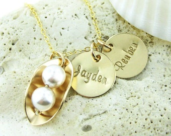 Two Peas in a Pod Necklace with Two Name Charms - 14K Gold Filled and Swarovski Crystal Pearls (NP013).
