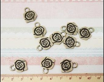 10 pcs Rose Flower metal charm Antique Brass color
