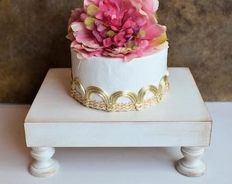 Wedding cake stand cupcake stand ... 8 x 10 diameter wedding cake pedestal,  vintage white color