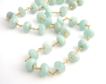 Amazonite Strand Necklace, Rosary Style, Gold, Mint Green