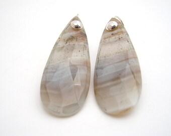 Agate Dangle Earrings, Sterling Silver, Gray, White, Teardrop Earrings