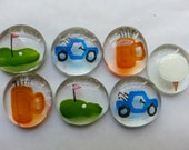 Hand painted large glass gems party favors art golf