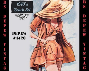 Vintage Sewing Pattern 1940's Beach Top, Shorts and Jacket in Any Size # 4420 Draft at Home Pattern - PLUS Size Included -INSTANT DOWNLOAD-