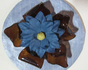 Blue and Brown Floral Ornament Mixed Media Recycled Repurposed Handmade