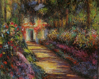 Pathway in Monet's Garden at Giverny - Claude Monet high quality hand-painted oil painting reproduction (35-1/4 x 36-3/8 in.)