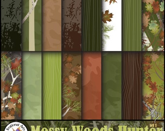 Mossy Wood Hunter Set 1 - 16 jpg files Digital scrapbooking papers patterned with mossy oak trees and leaf camouflage {Instant Download}