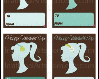 50's Retro Girl Valentines Day Cards - for kids class exchange - DIY Printing flowers silhouette valentine teal Jpg & Pdf[Instant Download]