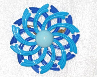 Got The Double Blues Spiral Violet Blue and Aqua Vintage Floral Pin Brooch