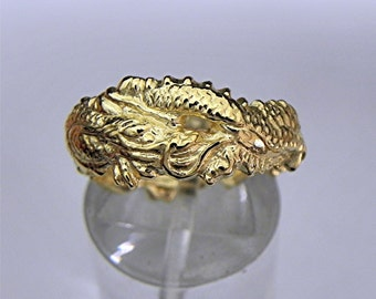 14K yellow gold Dragon ring. Hand carved  Available in all sizes 4 - 15.  Heavy at 7 grams MMM