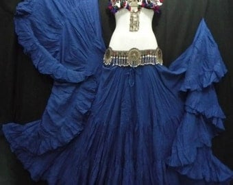 Royal Blue Cotton 25yd Skirt ATS SCA BellyDance Best Quality