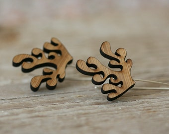 Frond Earrings - Bamboo and Sterling Silver - Medium