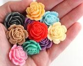 4pc shiny garden rose resin flower cabochons / 24mm, 9 colors / make diy rings, pendants, earrings