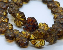 Czech Amber Picasso Glass Maple Leaf Beads  11x13mm (20)