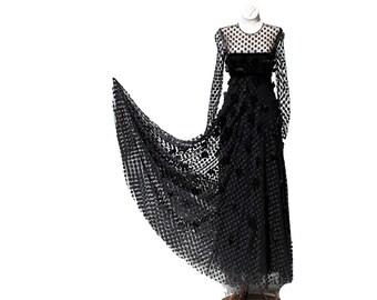 Vintage Black Polka Dot Mesh Full Length Gown