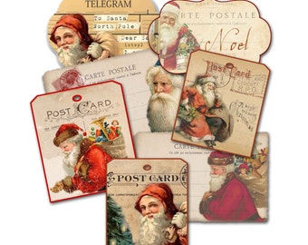 Christmas Tag Grab Bag, Assorted Santa Claus Tags Holiday Assortment, Party Favor,  St. Nick Tags, Gift Tag Assortment, Christmas Tags