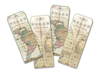 World Map Bookmark, Atlas Bookmark, Travel Theme Bookmark, Party Favor, Honeymoon Wedding Favor