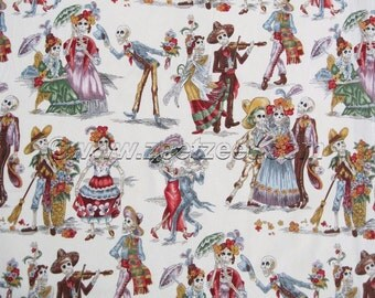 PASEO de LOS MUERTOS Natural Alexander Henry Day of the Dead, Skeleton Cotton Quilt Fabric - by the Yard, Half Yard, or Fat Quarter Muertos