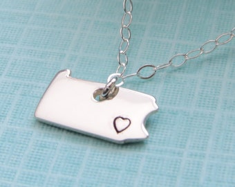State of Pennsylvania Necklace, Stamped Heart, Sterling Silver, Philadelphia, Philly, Pennsylvania Necklace, Pennsylvania Jewelry
