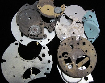 Destash Steampunk Watch Clock Parts Movements Plates Art Grab Bag RP 45