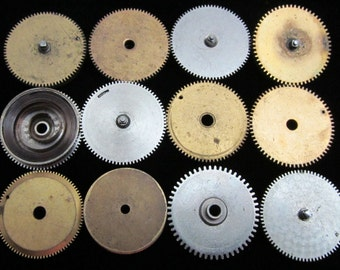 12 Antique Vintage Clock Watch Parts Cogs Gears Assemblage Steampunk Industrial Art Goodies CG 69