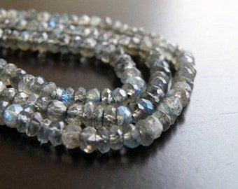 Labradorite Gemstone Rondelle Grey Blue Flash Faceted Beads 3mm Full Strand 160 beads