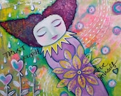 "Painting Original Mixed Media 9x12"" Trust Yourself Love Yourself oddimagination"