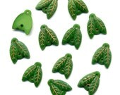 Vintage Egyptian Revival Beads 2 Hole Leaf Shape Green & Gold + Jump Rings