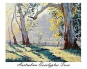 Printable painting wall art prints from my Original Oil Painting Australian Eucalyptus trees