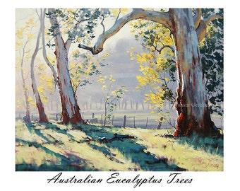 Printable painting wall art prints from my Original Oil Painting Australian Eucalyptus trees