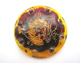 Antique Amber Glass Brooch - Paste Stones