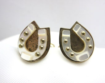 Horseshoe Cuff Links - Gold, Mother of Pearl, Western, Equestrian Cufflinks, Lucky