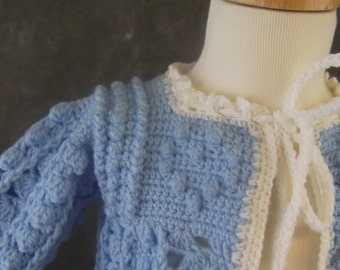 Crochet Sweater, Crochet Jacket, Size 1-2, Blue and White Sweater, Boys, Toddler, Children's Clothing,