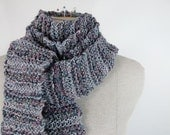 Extra Long Skinny Hand Knit Scarf - in Blue & Pink Soft Stripes - OOAK Item 1333