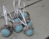 Christmas Ornaments Ice Blue Felted Acorns with Mica Flakes Tree Decorations Package Tie Ons