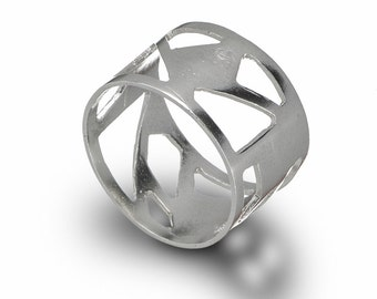 Asymmetrical Ring, Geometric Sterling Silver Ring, Triangles Ring