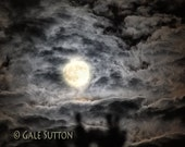 Restless Night - Clouds - Fine Art Photo - 11 x 14 Matted photo - Night Photo - Full Moon - Night Sky - Home Decor - Night Clouds