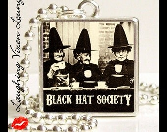 Halloween Necklace - Witch Jewelry - Black Hat Society Small Pendant - Witch Necklace - Halloween Jewelry
