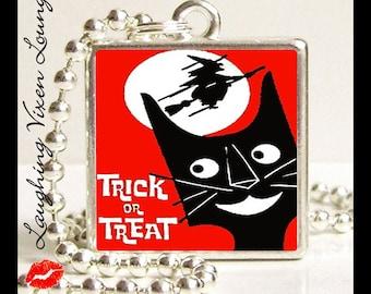 Halloween Jewelry - Black Cat Necklace - Halloween Necklace - Black Cat Jewelry - Retro Halloween Small Pendant Style-E - Trick Or Treat