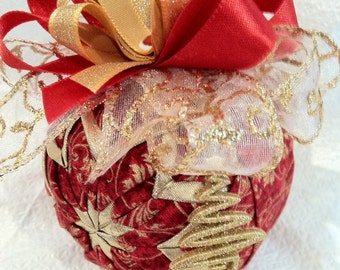 Red and Gold Quilted Star Christmas Ornament