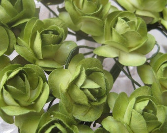 Paper Millinery Flowers 24 Small Handmade Roses In Lime Green