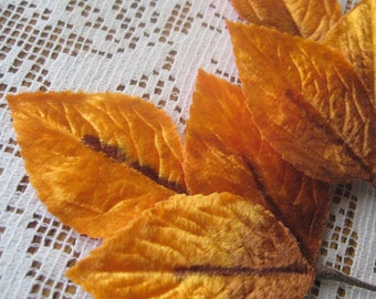 Vintage Millinery Leaves 1950s Japan Orange Ad Brown Ombre Velvet Rose Leaves  VL 031 OR