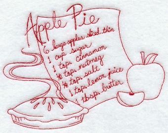 Embroidered Redwork Flour Sack Apple Pie Recipe Tea Towel