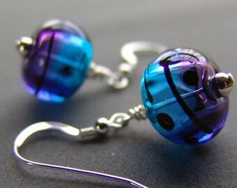 Hollow Handmade Lampwork Earrings Purple Blue and Teal
