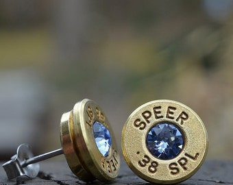 Bullet Earrings stud or post, Speer .38 Special, choose from many different Swarovski crystal colors