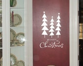 Merry Christmas with trees front door decal, wall decal Christmas decor words vinyl decal wall word sticker Holiday xmas decoration sign